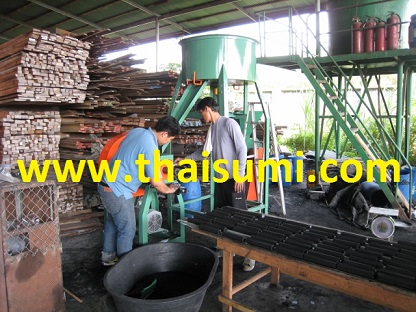 Briquette making factory from waste wood